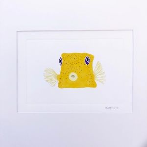 Puffer Fish Original Watercolor Painting Signed